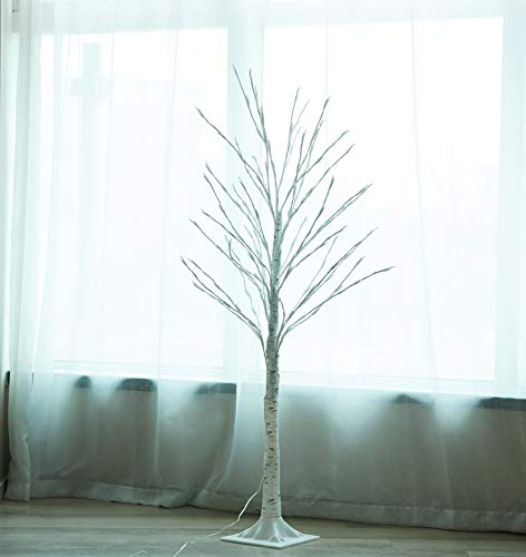 LAMPHOME Lighted Birch Tree, 4 Feet 160L LED Christmas Decorations Lighted Tree for Home, Party, Festival and Outdoor Use, UL Listed, Warm White (Clearance White Ft Christmas Tree 4)