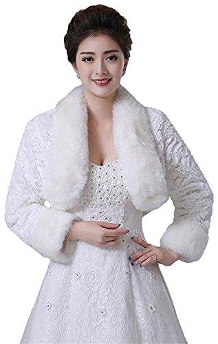 Oncefirst Women's Winter Faux Fur Wedding Jacket for Bride Wrap Shawl Bolero Jacket Ivory - Faux Fur Bolero Jackets