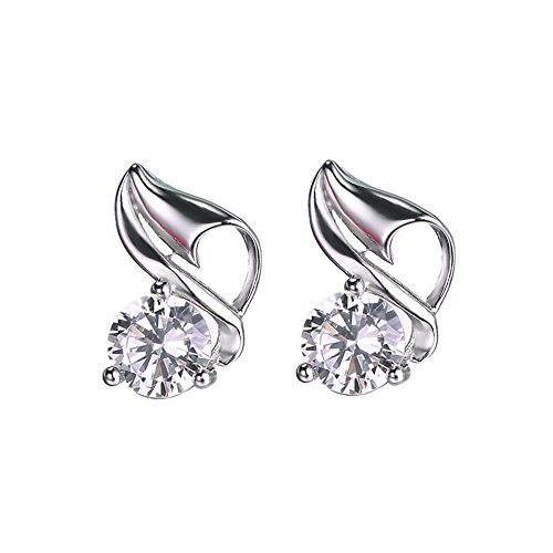 The November Nocturne Conch Shape White Zirconia Silver Plated Women Stud Earring