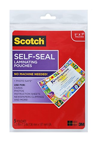 - Scotch Glossy Document or Photo Laminating Pouch, 5 x 7 Inches, 5-Pack (PL905)