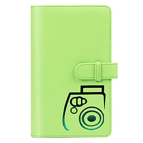 CAIUL Compatible 96 Pockets Mini Wallet Photo Album with PU Leather Cover for Fujifilm Instax Mini 9 8 8+ 70 7s 90 25 26 50s Films (Lime Green) from CAIUL