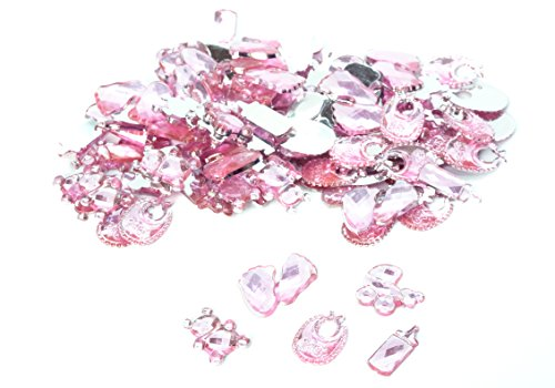 Bear Crystal Baby (100 pcs Acrylic Pram Milk Bottle Teddy Bear Bib Crown Foot For Girls Pink Birthday Party Favor Decoration Baby Shower Crystal Rhinestone Table Confetti Party Decoration (Mixed))