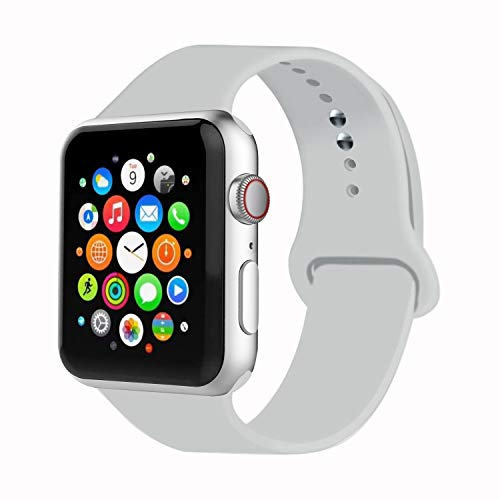 IYOU Sport Band Compatible with Watch Band 38MM 42MM 40MM 44MM, Soft Silicone Replacement Sport Strap Compatible with 2018 Watch Series 5/4/3/2/1(Soft White (Light Grey),38MM, S/M)