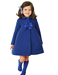 Dudebabe Little Girls Winter Warm Wool Bowknot Trench Long Sleeve Coat