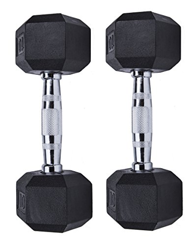 Gymenist Set of 2 Hex Rubber Dumbbell with Metal Handles, Pair of 2 Heavy Dumbbells (10 Lb)
