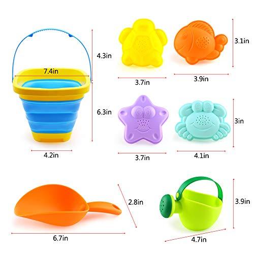 3 otters Foldable Beach Bucket, Beach Toys Set Colorful Beach Bucket Beach Toys Children\'s Gifts 7PCS