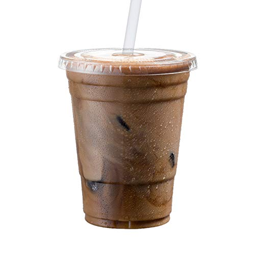 Cold Smoothie Go Cups and Lids | Iced Coffee Cups | Plastic Cups with Lids | 16 oz Cups, 50 Pack | Clear Disposable Pet Cups | Ideal for Bubble -
