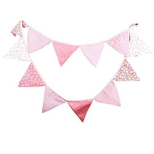 Pink Vintage Floral Bowknot Wedding Bunting Fabric Triangle Pennant Banner Birthday Baby Shower Party Hanging Decoration ()