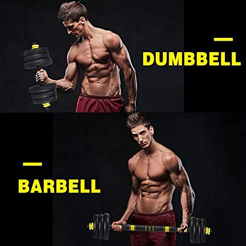 ZYOMY Dumbbells Barbell 2-in-1, Weights Dumbbells Set for Home Gym, Fitness Dumbbells 44lbs, Free Weight with Connecting Rod Used as Barbell, Dumbbell Set for Men Women