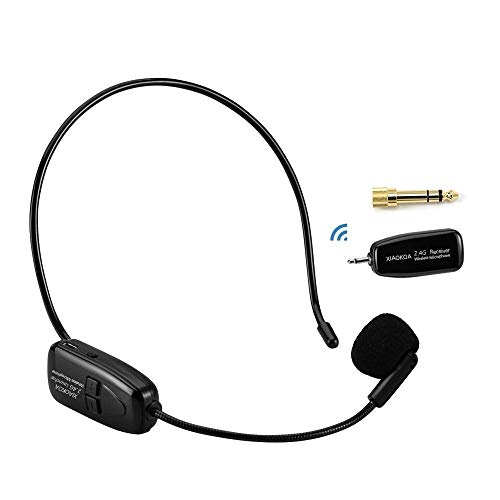 XIAOKOA 2.4G Wireless Microphone, 40m Stable Wireless Transmission, Headset And Handheld 2 In 1, For Voice Amplifier, Camera Recording, Speaker, Iphone, Computer Online Chatting(N-80) (Best Headset With Microphone For Recording)
