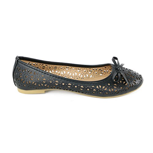 Chatties Womens Perforated Ballet Flat Black RbuFw7
