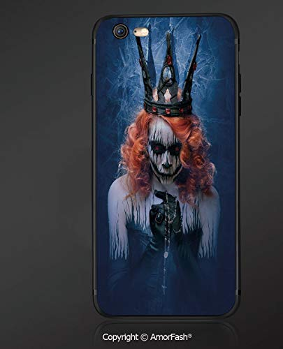 Compatible with iPhone 6 Ultra Slim Shockproof TPU Back Cover for iPhone 6S,Queen,Queen of Death Scary Body Art Halloween Evil Face Bizarre Make Up Zombie,Navy Blue Orange Black ()