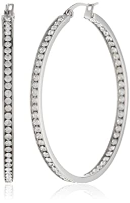 Stainless Steel In and Out Simulated Diamonds Hoop Earrings