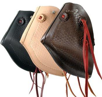Tough-1 Royal King Leather Hooded Western Stirrups Youth Medium Brown