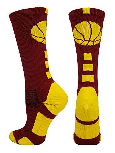 Cardinals Bb - MadSportsStuff Basketball Logo Athletic Crew Socks, Small - Cardinal Red/Gold