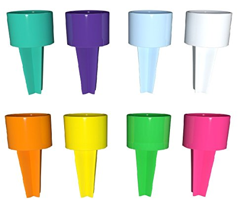 Set of 8 Spikers Beach Beverage Sand Cup Holders - Teal, Purple, Carolina Blue, White, Yellow, Tangerine, Kiwi & Strawberry -
