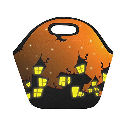 Insulated Neoprene Lunch Bag Halloween Nightmare Cityscape With Bats And Moon O Large Size Reusable Thermal Thick Lunch Tote Bags For Lunch Boxes For Outdoors,work, Office, School