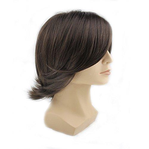 [Men's Fashion Medium Style Wave Wig Dark Brown Color Wig] (Wigs For Mens)