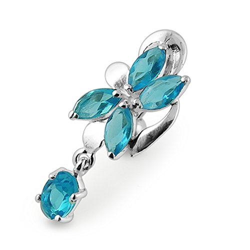 Light Blue Gemstone Fancy Orchid Reverse Bar Dangling Silver with Stainless Steel Belly Button Rings - Stone Light Blue Navel Ring