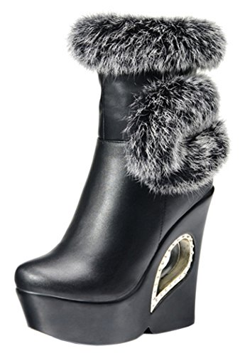 INDEX Women's Slipsole Animal Hair Fashion Shoes(7.5 B(M) US, Black)