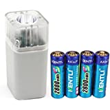 Bleiou 4pcs 1.5v 2800mWh Li-polymer lithium rechargeable AA battery + 4 slots smart Charger with LED flashlight fuction