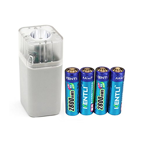 KENTLI 4pcs 1.5v 2800mWh Li-polymer lithium rechargeable AA battery + 4 slots smart Charger with LED flashlight fuction