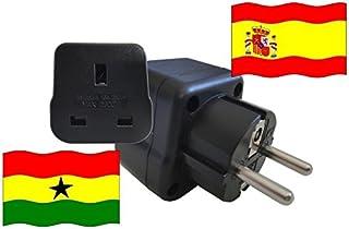 Adattatore da viaggio SPAGNA per Ghana ES -GH (contatto protettivo, 2200 Watt)