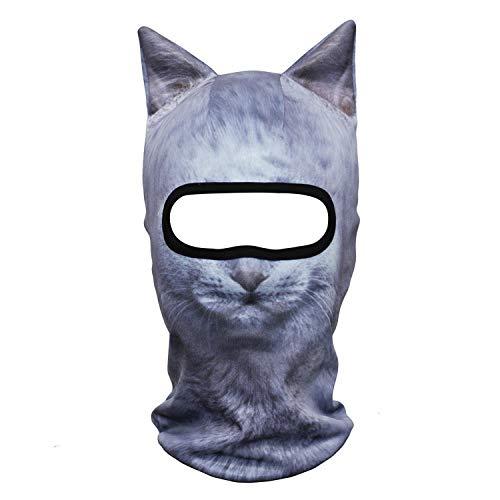 Funny 3D Animal Ears Winter Warmer Costume Halloween Party Snowboard Cat Dog Panda Fox Husky Full Face Mask