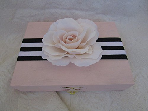 Wedding Ring Bearers Box Blush Black and White Stripes HIS HERS Divided