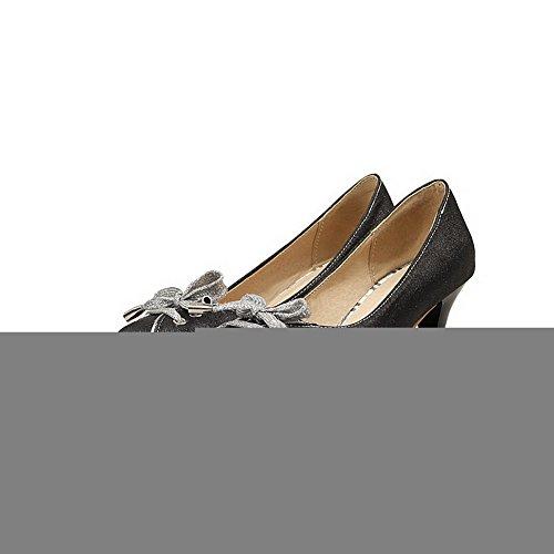 Balamasa Dames Spikes Stilettos Strikken Laag Uitgesneden Bovendeel Urethaan Pumps-schoenen Zwart