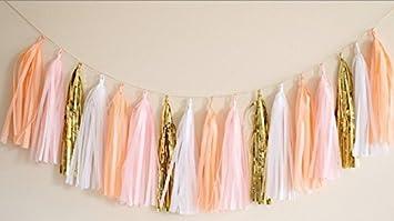 16 x Originals Group Design TISSUE PAPER TASSELS for Party Wedding gold Garland Bunting Pom Pom