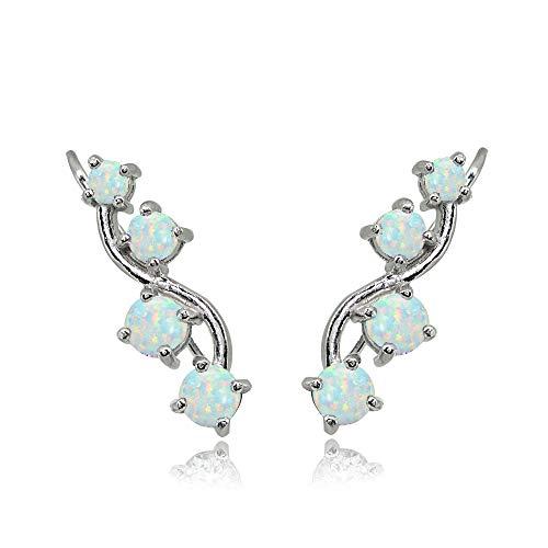 Sterling Silver Simulated White Opal Vine Climber Crawler Earrings for Women