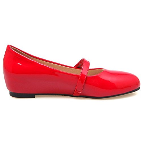 COOLCEPT Damen Mode Mary Jane Flach Pumps Red