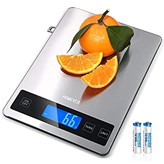 Kitchen Scale, Homever 15kg Food Scale with 9 X 6.3in Big Panel, Stainless Steel Digital Kitchen Scale with 1g Accuracy and Back-lit LCD Display.