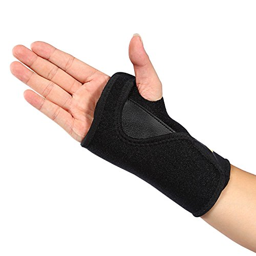 Position Two Thumb Clamp (Wrist Support Brace for Keyboard, Carpal Tunnel Splint Fits Left Hand Neoprene Made for Arthritis, Tendonitis, Sprains, RSI One Size Black)