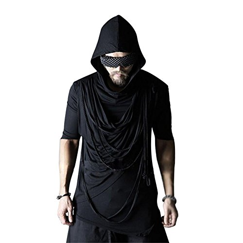 Lorie & Knight Men's Gothic Punk Rock Asymmetrical Hoodie Short Sleeve Hipster Hooded Tee - Clothing Hipster Punk