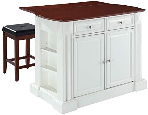 Crosley Furniture KF300075WH Drop Leaf Kitchen Island/Breakfast Bar with 24-inch Upholstered Square Seat Stools, White / Classic Cherry from Crosley Furniture