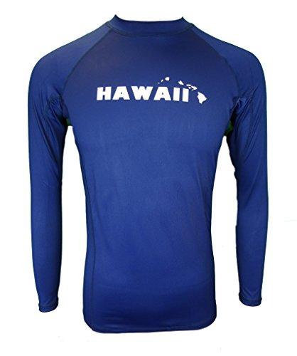 Maui Clothing Fuse Solid Hawaii Print Rash Guard Longsleeve (Navy, - Sunglass Company Lahaina