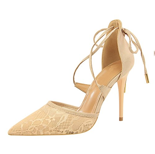 Schuhe mit Mund Hohlen Absätzen Xiaoqi Stil Sandalen Cross Lace LIANGXIE Europäischen Hochhackigen Amerikanischen und Wies Beige Flachen Net mit Strap Sexy Hohen U7XwY