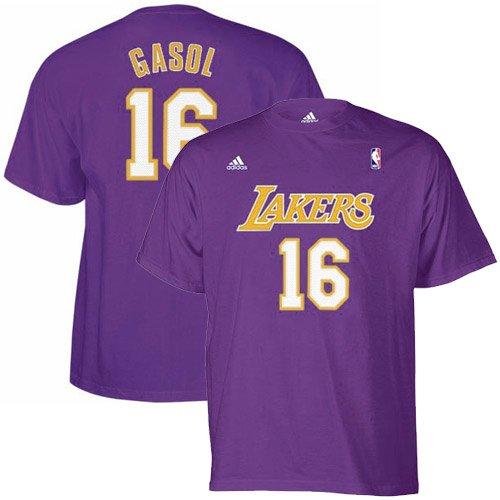 NBA adidas Los Angeles Lakers #16 Pau Gasol Purple Net Player T-Shirt (Large)