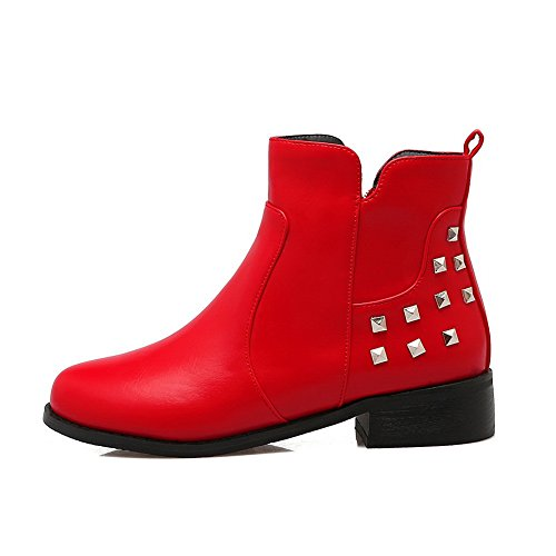 Closed-Toe Womens Rivet Zipper Square Heels Imitated Leather Boots Red htfXmOk270