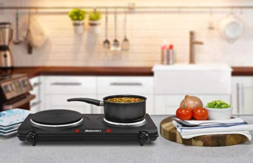 Elite Gourmet Countertop Electric Hot Burner, Temperature Controls, Power Indicator Lights, Easy to Clean, Double, Black