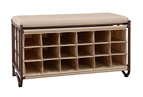 Organize It All 9 Pair Shoe Storage Bench Oil Rubbed Bronze with Canvas Cushion ()