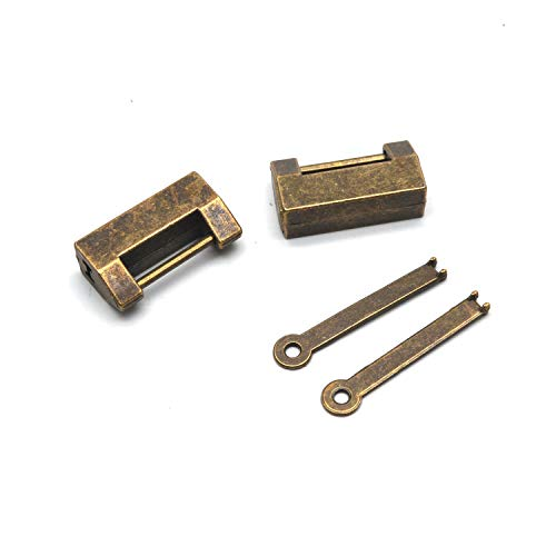 Antrader 2PCS Small Antique Padlock, Chinese Mini Vintage Lock with Key for Cabinet Jewelry Box Gift Box