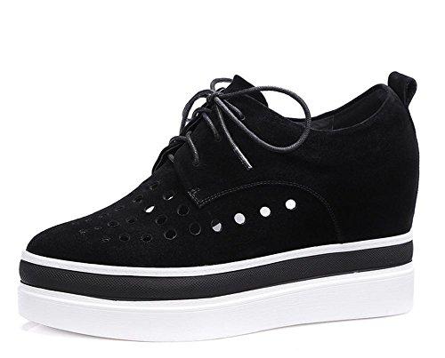 2017 nuevos zapatos de las mujeres de gamuza ovejas aumentó la correa ocasional con cordones de los zapatos casuales Black