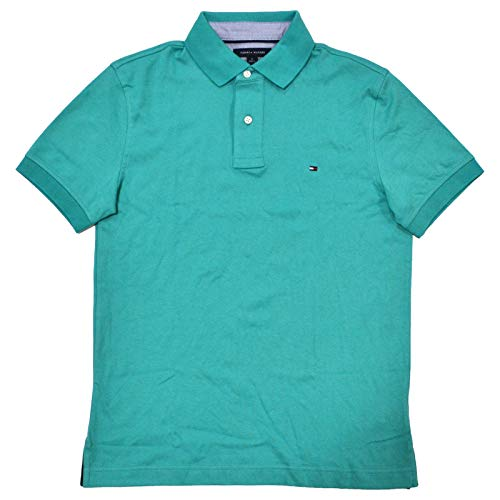 (Tommy Hilfiger Mens Custom Fit Solid Color Polo Shirt (Small, Jungle Green))