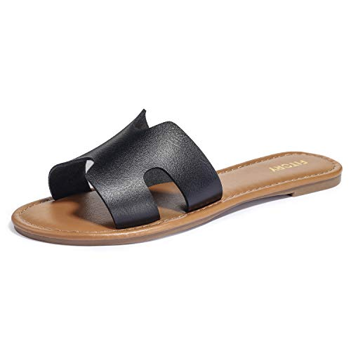 FITORY Womens Flat Sandals Slides Open Toe Slip On Shoes for Summer Black