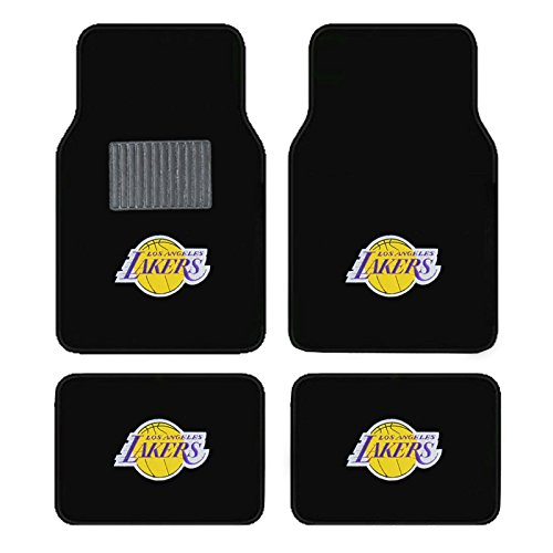A Set of 4 Universal Fit Front and Rear Logo Plush Carpet Floor Mats (LAKERS) ()
