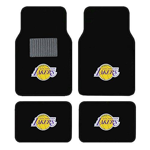 A Set of 4 Universal Fit Front and Rear Logo Plush Carpet Floor Mats (LAKERS) (Nba Carpet Floor Mats)