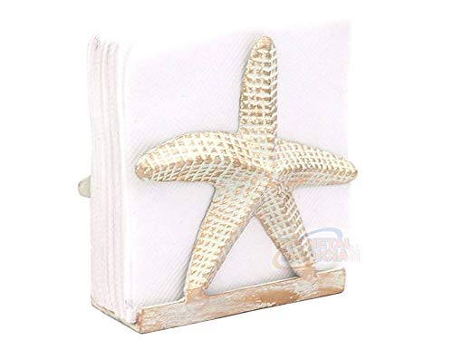 - The Metal Magician Nautical Starfish Lunch Napkin Holder, Off-White